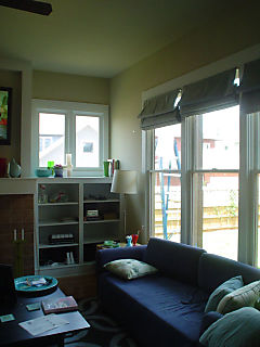 Living room shades and bookcase