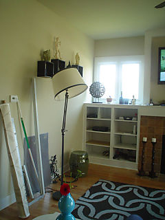 Living room bookcase and new lamp